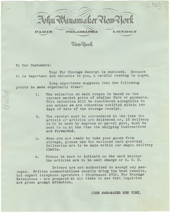 Circular Letter From John Wanamaker To Customers, Ca. 1928