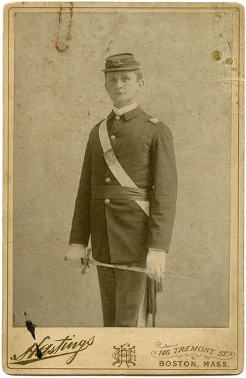 Newton Shultis: studio portrait as a cadet, Massachusetts Agricultural College, ca. 1892
