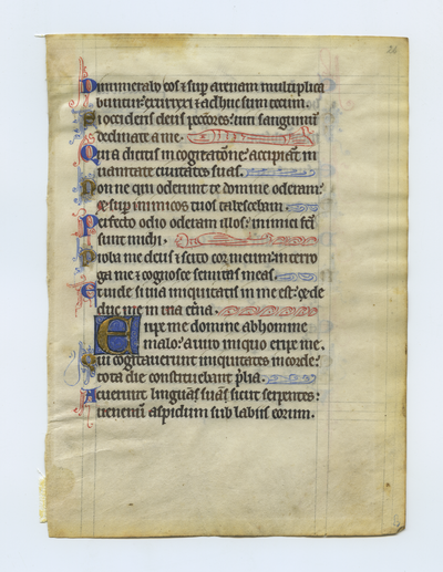 Psalterium [Psalter]. Germany [though possibly England or France?]. Latin text in angular gothic script