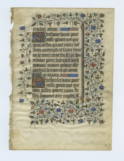 Horae Beatae Mariae Virginis [Book of Hours]. France. French text in angular gothic script
