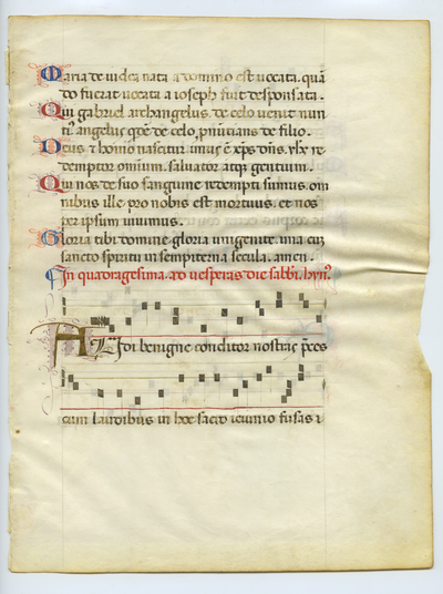 Graduale [Gradual]. Italy (Florence). Latin text in rotunda gothic script, square notations