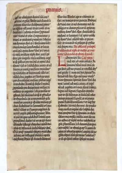Biblia Sacra Latina, Versio Vulgata [Vulgate Bible]. Germany. Latin text in semi-gothic script