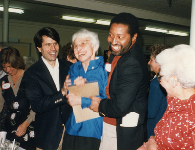 Randy Kehler, Frances Crowe, and Bill Strickland at a dinner in honor of Margaret Holt, 1985