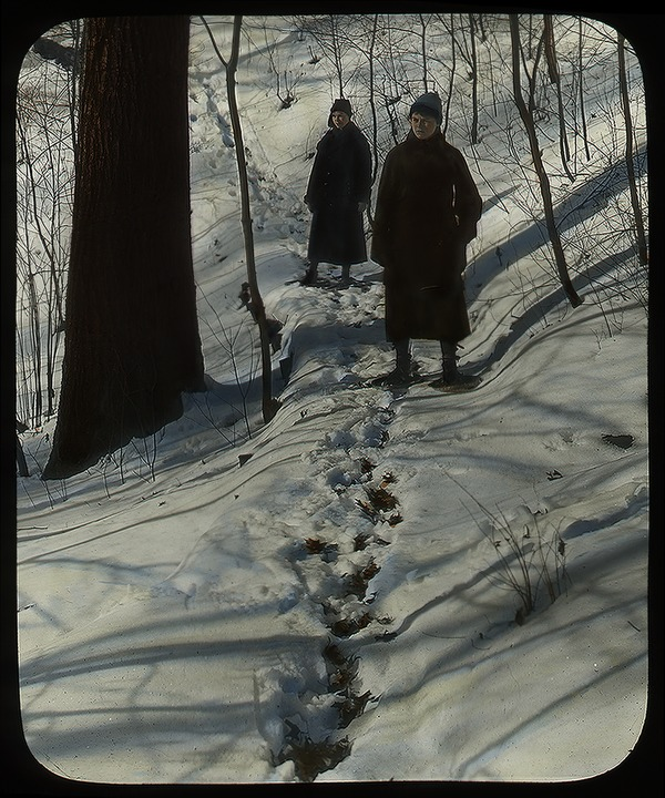 Trail in the Glen, Massachusetts Agricultural College (snowshoeing), ca. 1925