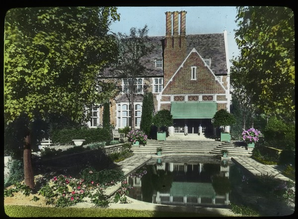 House and Garden at Rye, New York (pool beside formal patio and brick house), undated