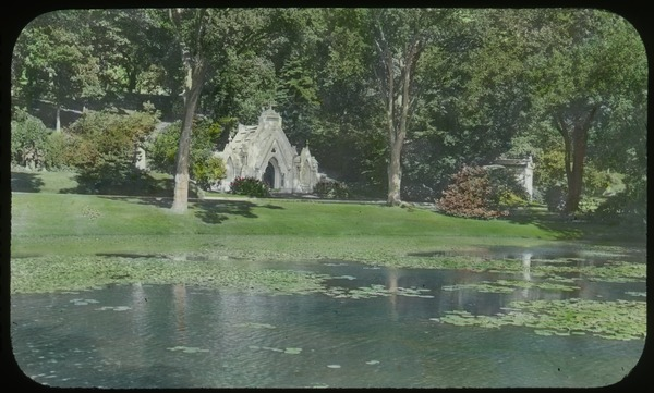 Forest Hills Cemetery (pond, lily pads,  trees, large tombs), undated