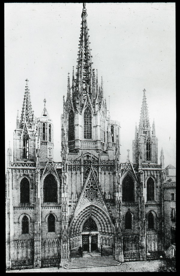 Neo-gothic church exterior, ca. 1910