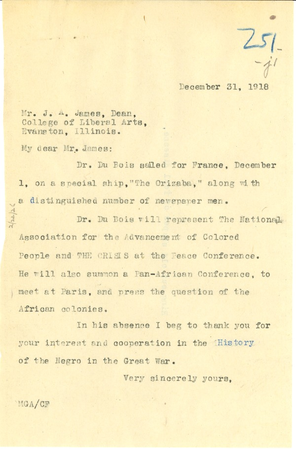 Letter from Madeline G. Alison to J. A. James, December 31, 1918