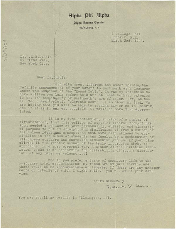 Letter from Alpha Phi Alpha, Alpha Gamma Chapter to W. E. B. Du Bois, March 3, 1926