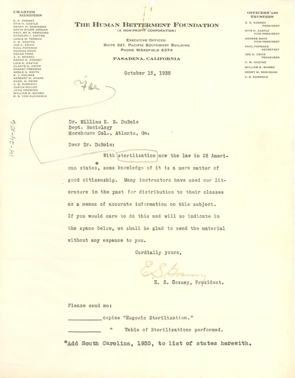 Letter from Human Betterment Foundation to W. E. B. Du Bois, October 15, 1935