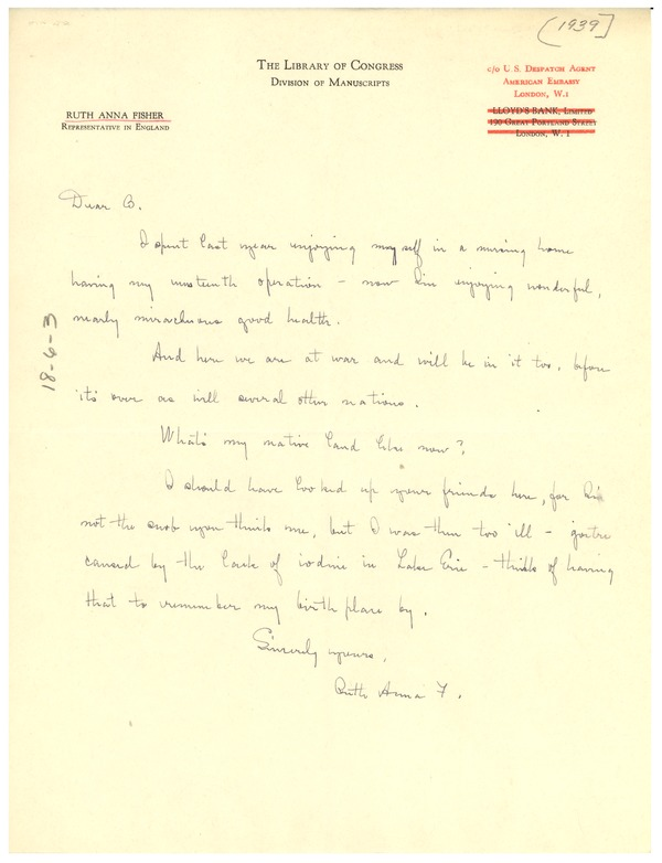 Letter from Ruth Anna Fisher to W. E. B. Du Bois, 1939