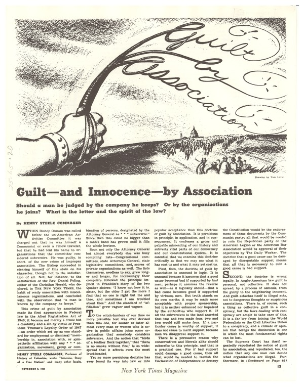 Guilt -- and innocence -- by association, November 3, 1953