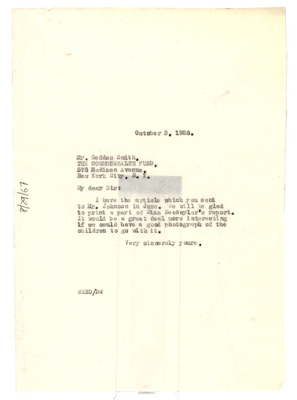 Letter from W. E. B. Du Bois to Commonwealth Fund, October 3, 1928