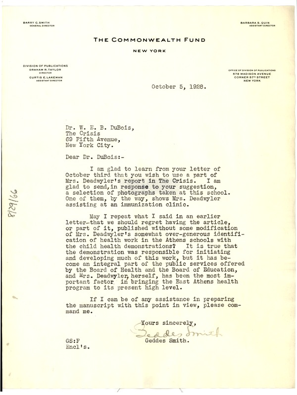 Letter from Commonwealth Fund to W. E. B. Du Bois, October 5, 1928
