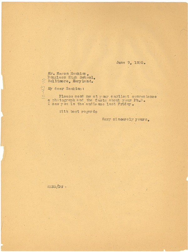 Letter from W. E. B. Du Bois to Mason Hawkins, June 9, 1930
