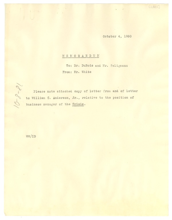 Memorandum from Walter White to W. E. B. Du Bois, October 4, 1930