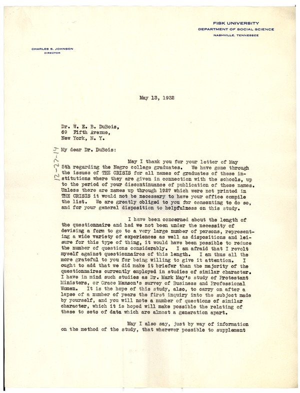 Letter from Charles S. Johnson to W. E. B. Du Bois, May 13, 1932
