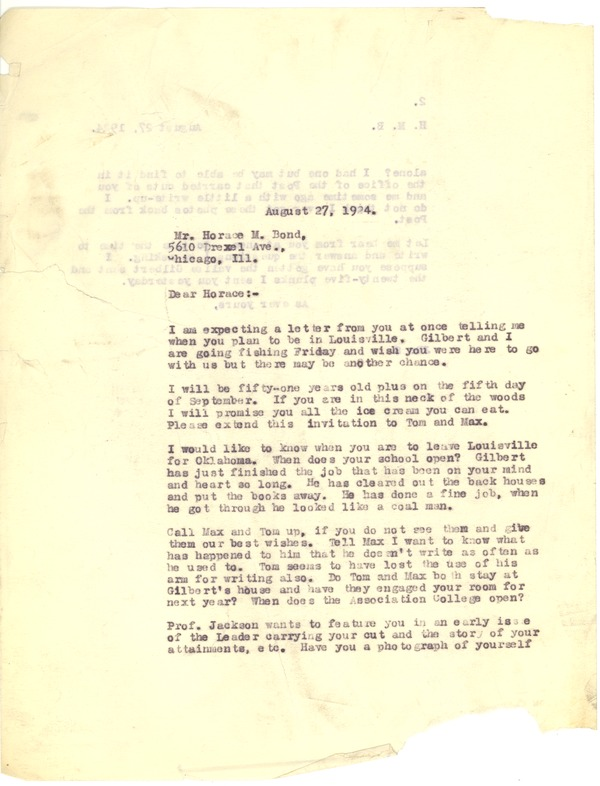 Bond, James, correspondence, August 27, 1924–September 27, 1924