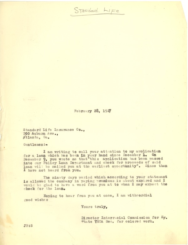 Bond, James, correspondence, February 28, 1927–March 25, 1927