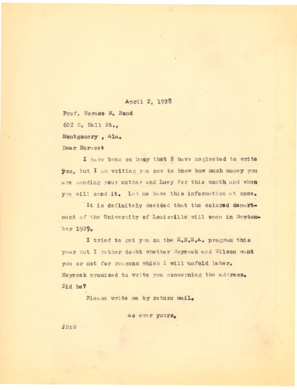 Bond, James, correspondence, April 2, 1928–May 18, 1928