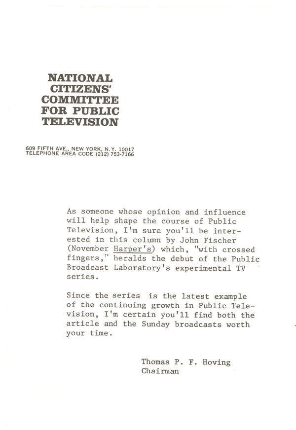 National Citizens' Committee for Public Television, 1967