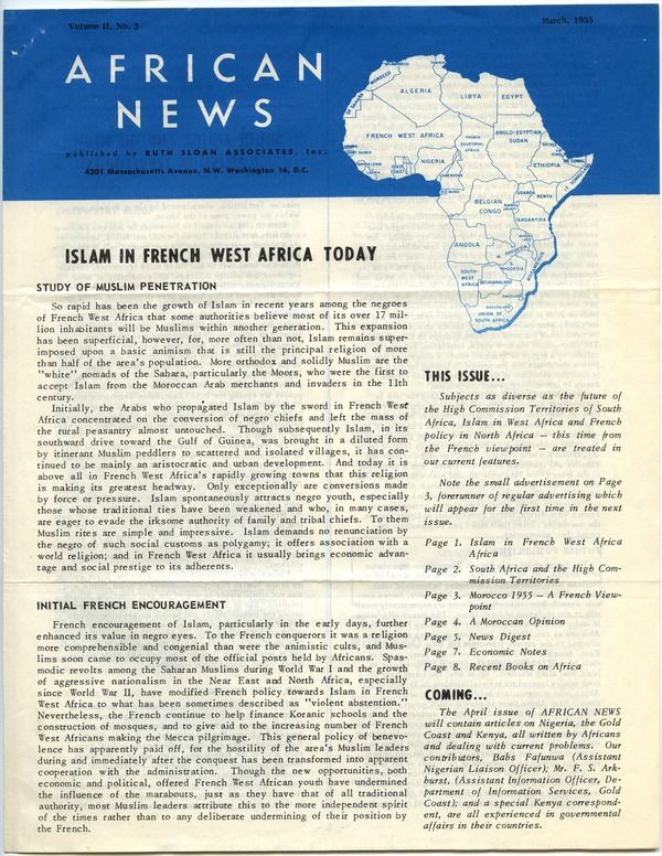 Africa, printed material, March 1955–May 1955