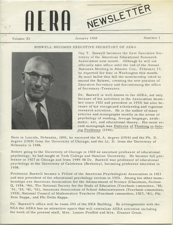American Educational Research Association, January 1960–February 1960