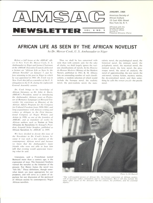 American Society of African Culture, January 1964–May 1, 1964
