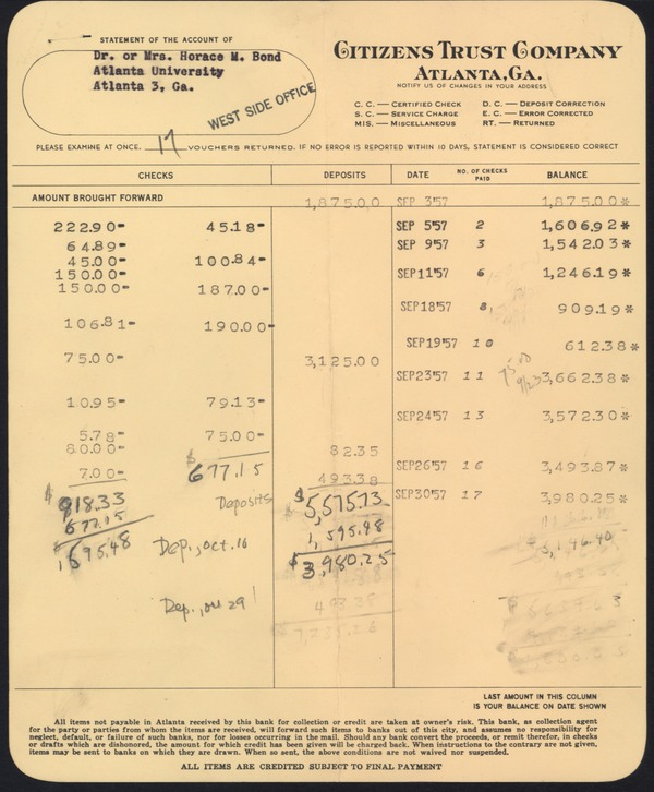 Financial: bank statements and checks, September 1957–December 1957