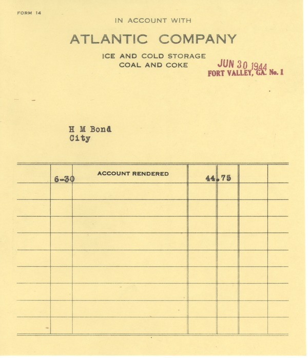 Financial: bills and receipts, 1944