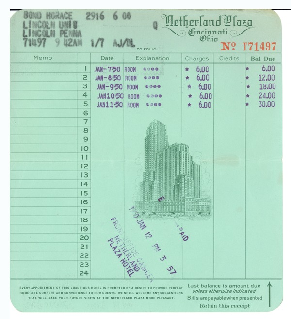 Financial: bills and receipts, 1950–1952
