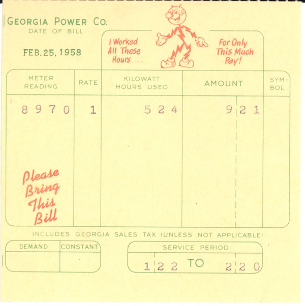 Financial: bills and receipts, 1958