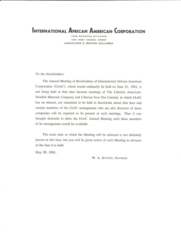 International African American Corporation, May 29, 1961–May 31, 1961