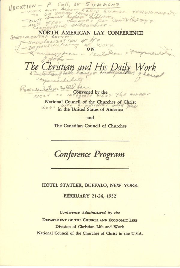 National Council of the Churches of Christ, February 21, 1952–February 1952