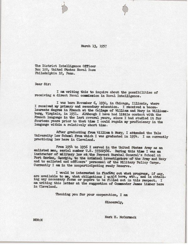 Letter from Mark H. McCormack to District Intelligence Office, March 13, 1957