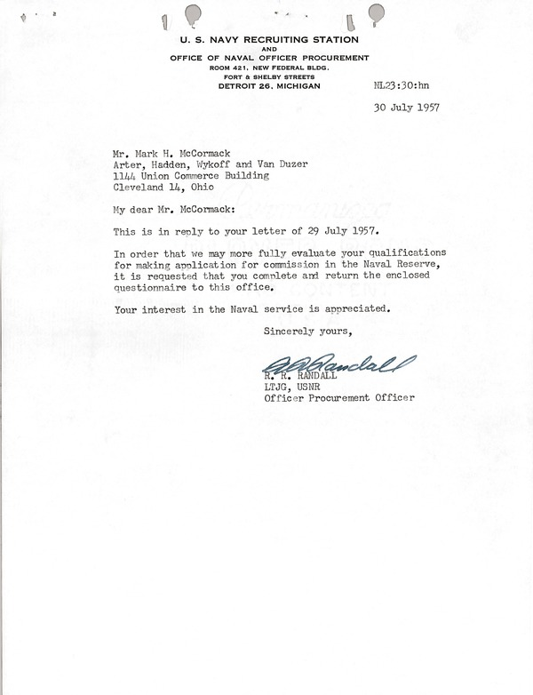 Letter from R.R. Randall to Mark H. McCormack, July 30, 1957
