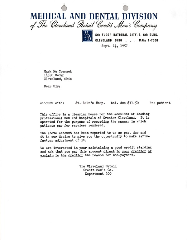 Letter from Cleveland Retail Credit Men's Company to Mark H. McCormack, September 11, 1957