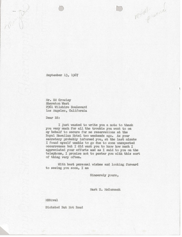 Letter from Mark H. McCormack to Sheraton West, September 13, 1967