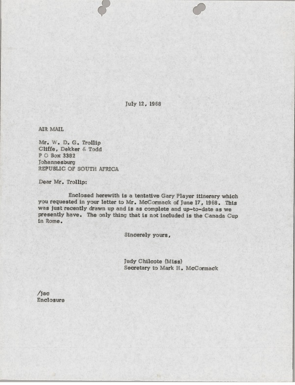 Letter from Judy Chilcote to William D. G. Trollip, July 12, 1968