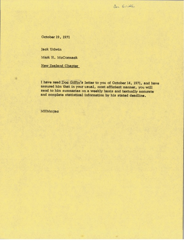Memorandum from Mark H. McCormack to Jack Urlwin, October 19, 1971