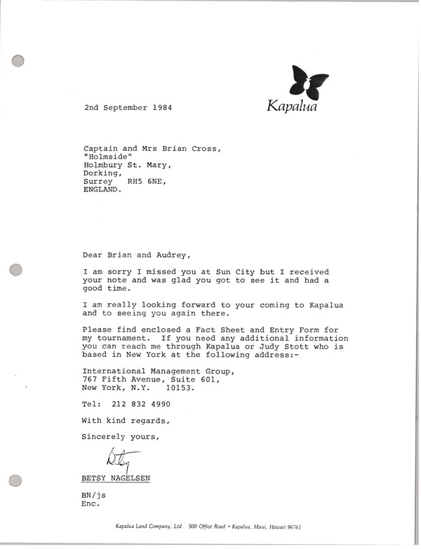 Letter from Betsy Nagelsen to Captain and Mrs. Brian Cross, September 2, 1984
