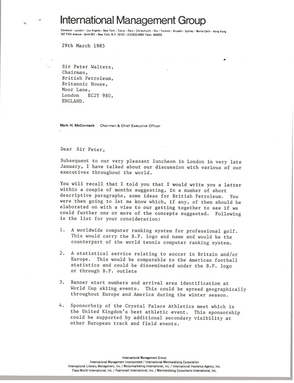 Letter from Mark H. McCormack to Sir Peter Walters, March 29, 1985