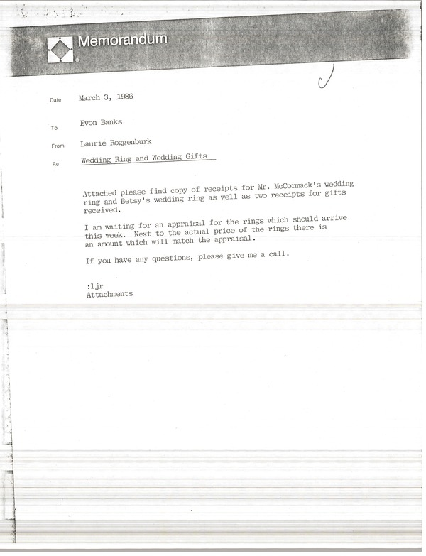 Memorandum from Laurie Roggenburk to Evon Banks, March 3, 1986
