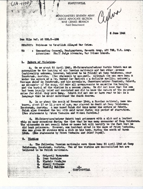 Evidence to establish alleged war crime: Deposition and report, June 16, 1945