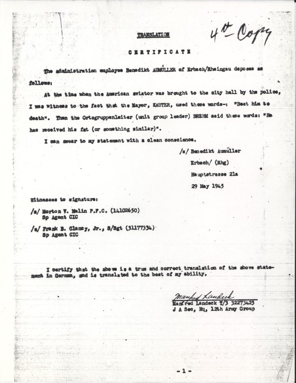 Stott, Donald H.: Case file on execution of downed American aviator, April 16, 1945–July 5, 1945