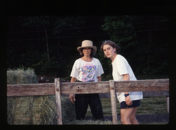 Nina Keller and unidentified woman, haying, Wendell(?), 1980