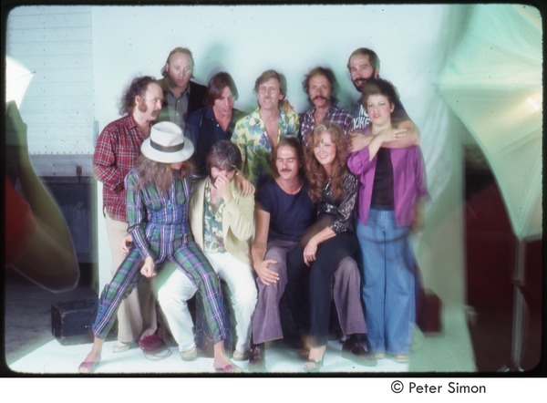 MUSE concert and rally: publicity shoot, (standing, l-r) David Crosby, Stephen Stills, Jackson Browne, Graham Nash, Jesse Colin Young, John Hall, Phoebe Snow (seated) Carly Simon, Michael McDonald, James Taylor, Bonnie Raitt, September 1979