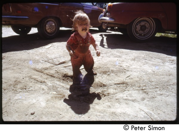 Baby in the mud, Tree Frog Farm Commune, June 1973