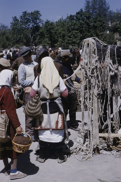 Rope seller at Ohrid market, ca. May 1954