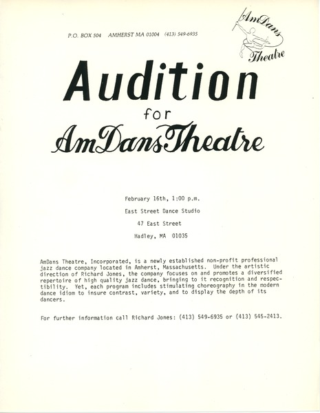 Audition for AmDans Theatre, ca. 1986